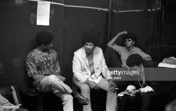 view of Black Panther Party member Don Cox and Young Lords Party members Felipe Luciano and Pablo Yoruba Guzman as they attend a Rainbow Coalition...