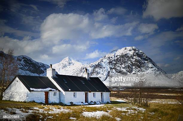 A view of Black Rock Cottage and Buachaille Etive Mor in Glen Coe on March 24 2014 in Glen Coe Scotland A referendum on whether Scotland should be an...