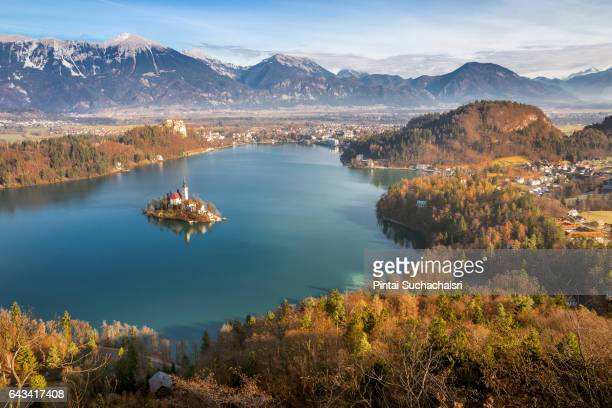 View of Bled Lake and Island from Osojnica Hill, Bled, Slovenia