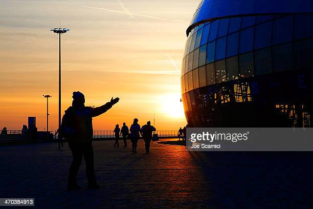 A view of Bloshoy Ice Dome at sunset in the Olympic Park on February 19 2014 in Sochi Russia