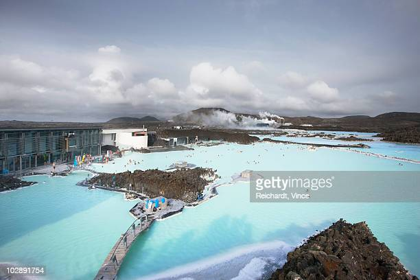 View of blue lagoon geothermal spa