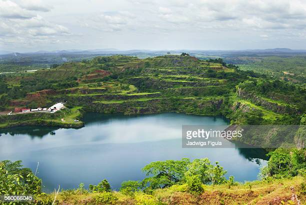 view of blue lake in liberia, west africa. - liberia stock pictures, royalty-free photos & images