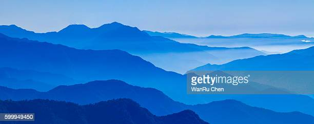 View of blue mountains in the fog. Central Mountains Taiwan