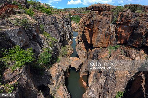 A view of Blyde River Canyon the third largest canyon in the world called by locals The Potholes are very impressive rock formations that were shaped...