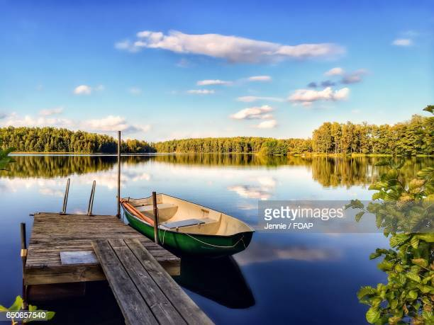 View of boat moored in lake