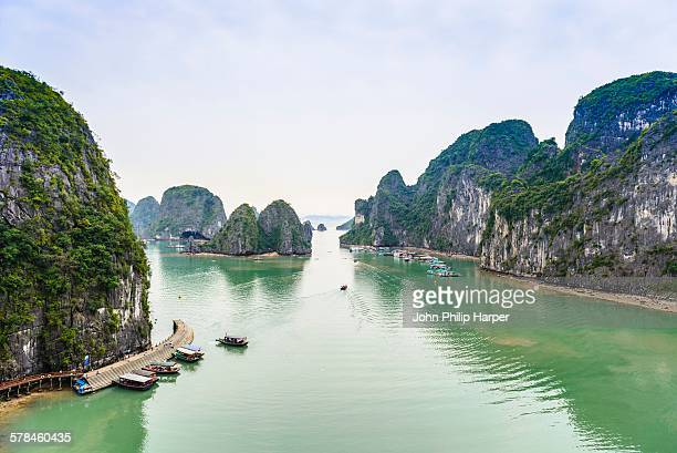 View of boats and rock formation islands, Ha Long Bay, Vietnam
