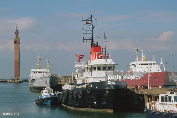 A view of boats in Grimsby docks with the dock tower behind Lincolnshire circa 1985