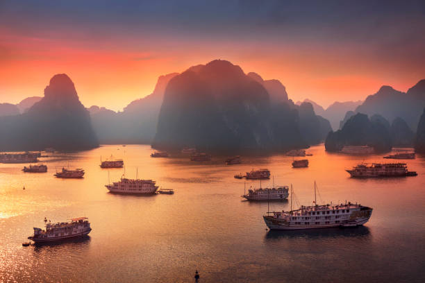 View Of Boats in the Gulf of Tonkin in Halong Bay, Vietnam