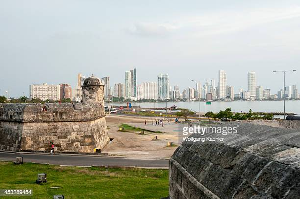 View of Bocagrande from city wall of the old walled city of Cartagena Colombia
