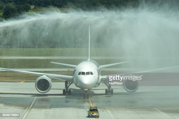 A view of Boeing 787 Dreamliner welcomed by Krakow airport fire brigade after arriving from Chicago on the day of the inauguration of KrakowChicago...