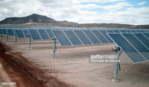 View of Bolero solar power plant owned by French company EDF Energies Nouvelles in Atacama desert Antofagasta region Chile on January 22 during...