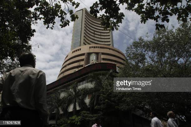 View of Bombay Stock Exchange with digital broadcast on the facade on August 28 2013 in Mumbai India The benchmark SP BSE Sensex ended 28 points...