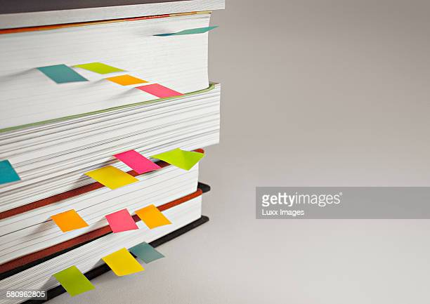 View of books with colourful reminders