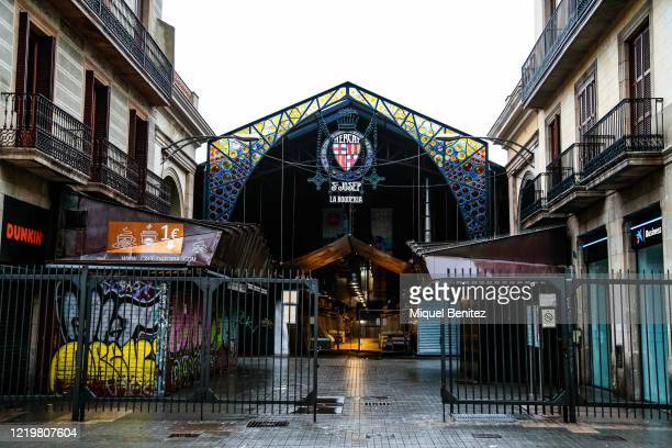 View of Boqueria Market at Rambles boulevard empty on April 19, 2020 in Barcelona, Spain. More than 20,400 people are reported to have died in Spain...