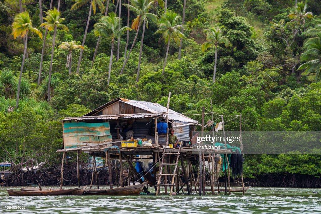 View of Borneo sea gypsy house in Bodgaya Island, Semporna Sabah, Malaysia. : Stock Photo
