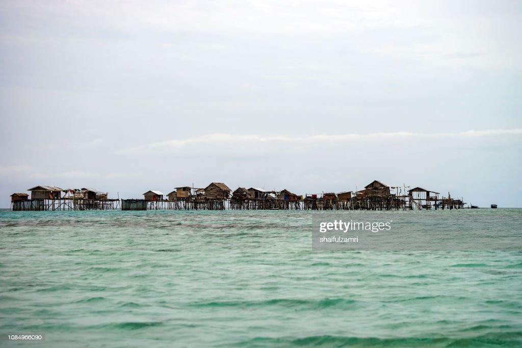 View of Borneo sea gypsy water village in Bodgaya Island, Semporna Sabah, Malaysia. : Stock Photo