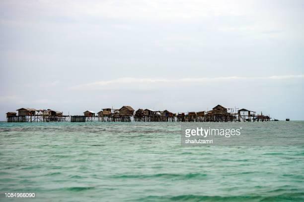 View of Borneo sea gypsy water village in Bodgaya Island, Semporna Sabah, Malaysia.