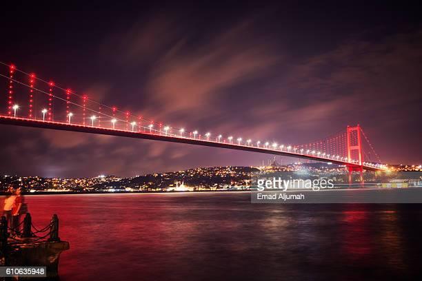 View of Bosphorus Bridge at night, Istanbul, Turkey