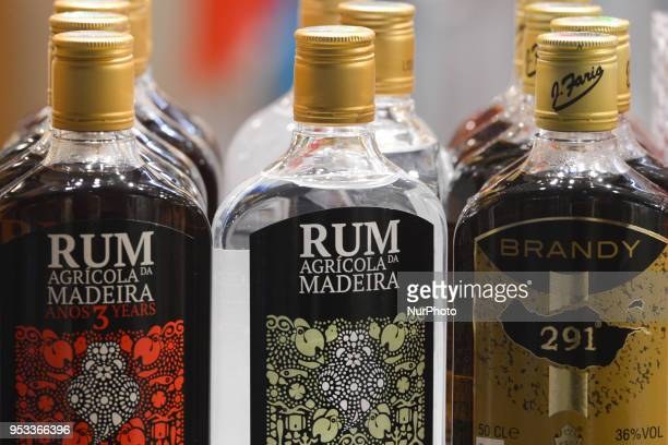 A view of bottles of Rhum and brandy alcoholic drinks from the island of Madeira William Hinton created his Rum distillery factory in Madeira in 1845...