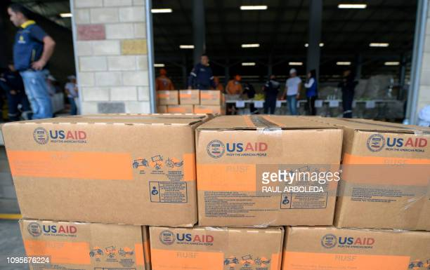 View of boxes with US humanitarian aid goods in Cucuta Colombia on the border with Tachira Venezuela on February 8 2019 Venezuelan military officers...