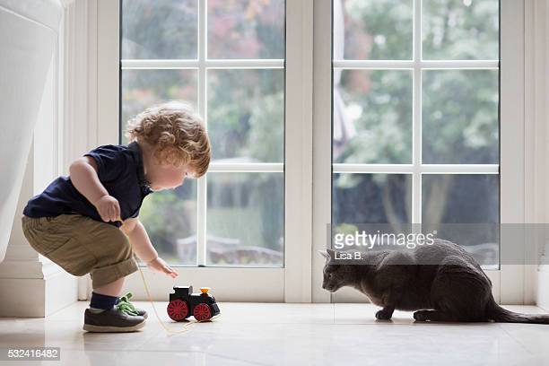 View of boy playing at home