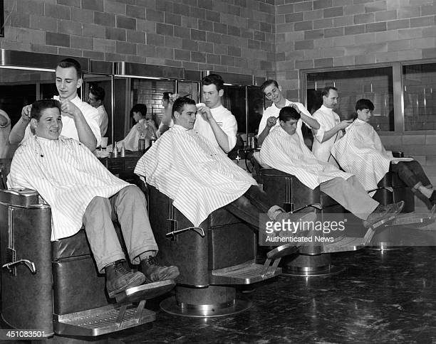A view of Boys Town Barber Shop in Nebraska Circa 1950