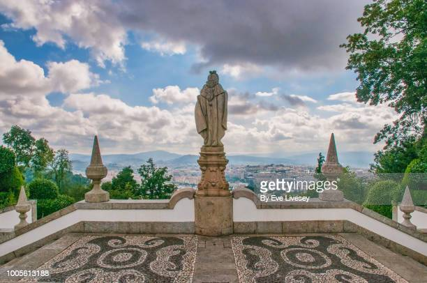 View of Braga City and Statue from the Steps of the Five Senses, Braga, Portugal