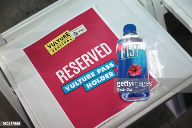 A view of branded signage and a Fiji water bottle on set during Vulture Festival Presented By ATT Dish with the Cast of Starz's Sweetbitter at Milk...
