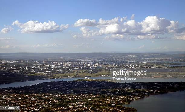 View of Brasilia seen from an aircraft on February 13 2015 in Brasilia Brazil