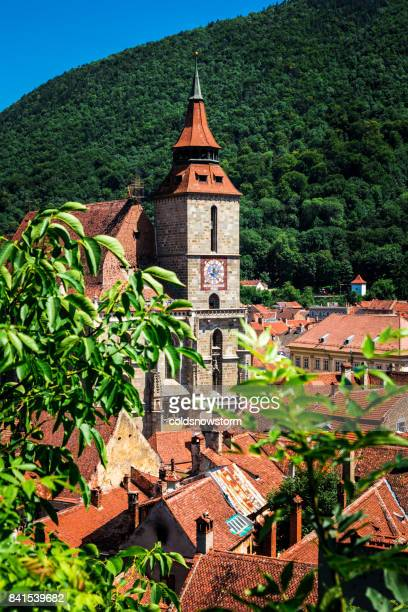view of brasov streets and architecture from above, brasov, romania - transylvania stock pictures, royalty-free photos & images