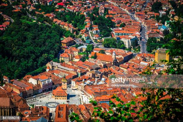 View of Brasov streets and architecture from above, Brasov, Transylvania, Romania