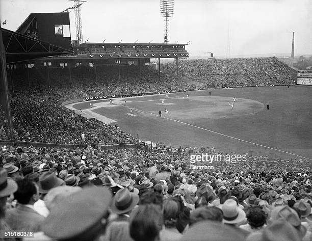 View of Braves Field as the first game of the 1948 World Series between the Braves and the Cleveland Indians got underway. The Braves won the game...