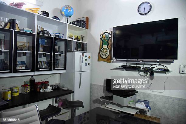 View of Brazilian drug trafficker Jarvis Chimenes Pavao's cell at Tacumbu prison in Asuncion on July 28 2016 Three rooms a plasma TV a library and...