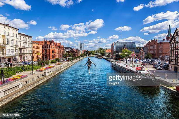 view of brda river in bydgoszcz, poland - bydgoszcz stock pictures, royalty-free photos & images