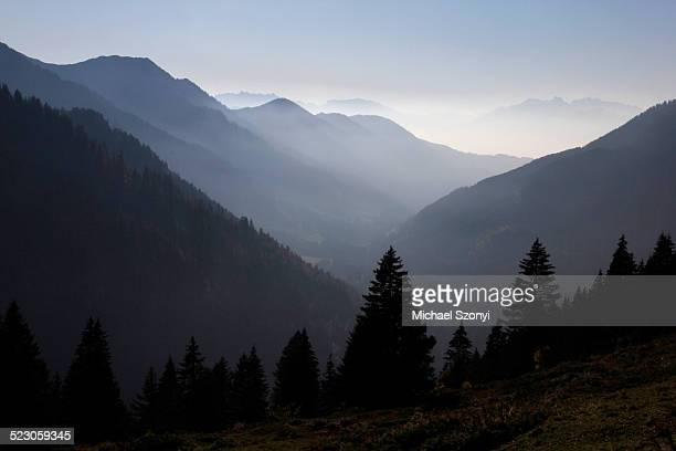 view of bregenzer wald mountain range as seen from furkajoch ridge, vorarlberg, austria, europe - wald stock pictures, royalty-free photos & images