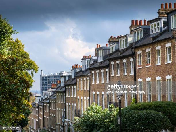 view of brick georgian-style terraced houses in hampstead village, london - residential district stock pictures, royalty-free photos & images
