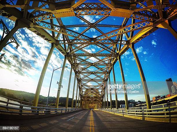 view of bridge against sky - pittsburgh stock pictures, royalty-free photos & images