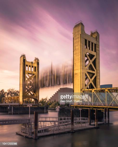 view of bridge at sunset - sacramento stock pictures, royalty-free photos & images