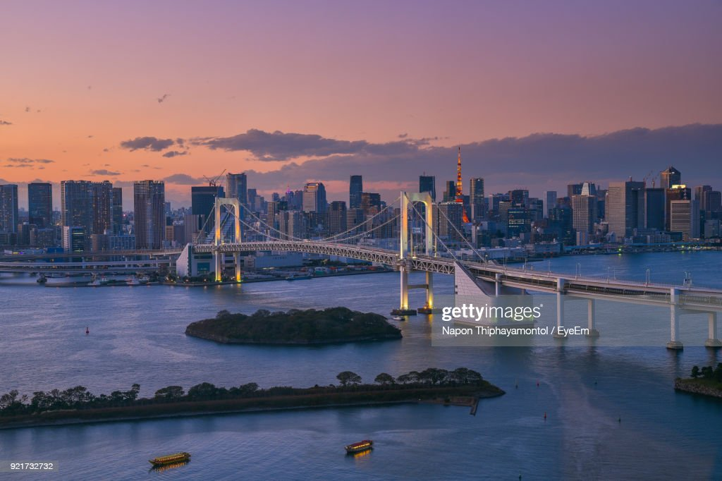View Of Bridge In City At Sunset : Stock Photo