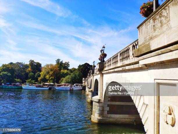 view of bridge over river - kingston upon thames stock pictures, royalty-free photos & images