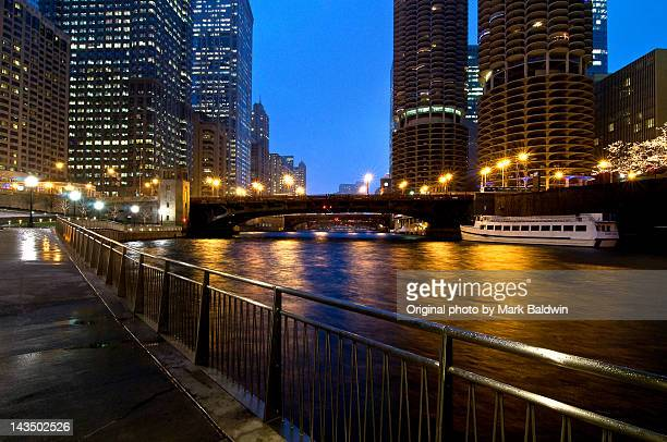 View of bridges over Chicago river