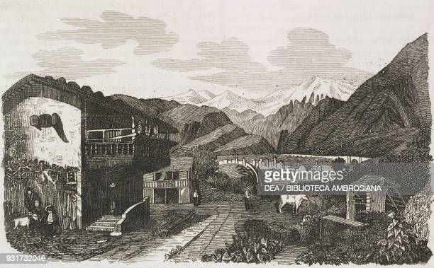 View of Brig on the Simplon Pass road Switzerland engraving from L'album giornale letterario e di belle arti June 2 Year 16