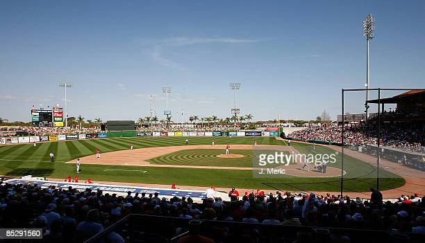 View of Bright House Field during the Grapefruit League Spring Training Game between the Philadelphia Phillies and the Detroit Tigers on March 7,...