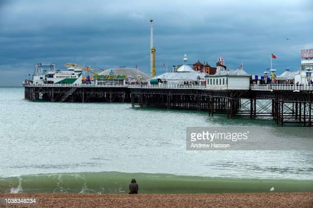A view of Brighton Pier in wet weather on September 23 2018 in Brighton England Despite better weather being predicted for the forthcoming week...