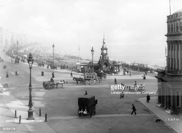 A view of Brighton with the clock tower of Brighton Aquarium
