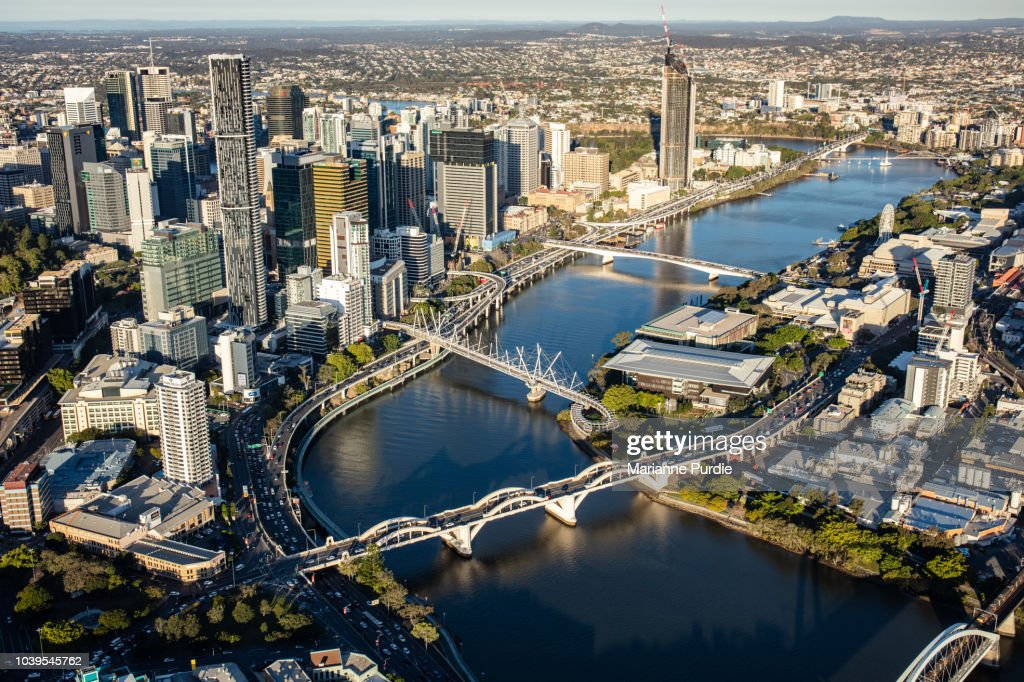 A view of Brisbane city from a helicopter : Stock Photo