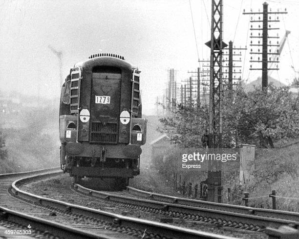 A view of Britain Long distance non stop railway locomotive of the future Gas Turbine No3 in England November 41961