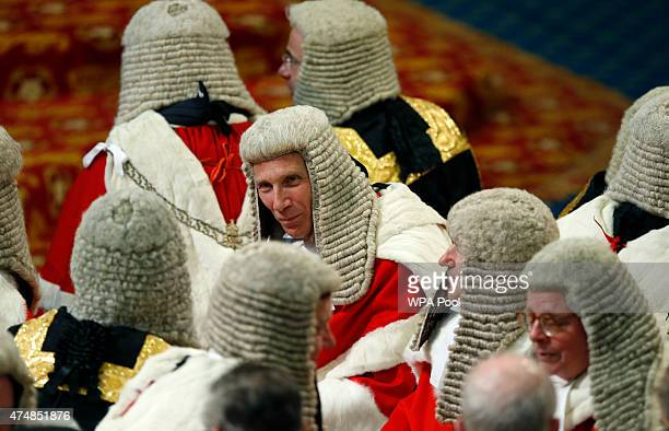 A view of Britain's top judges on benches as they wait for Britain's Queen Elizabeth II to deliver her speech at the House of Lords in the Palace of...