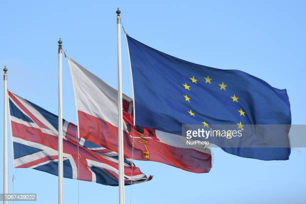 A view of British Gibraltar and European Union flags at the border between Gibraltar and Spain On Friday November 30 in Gibraltar