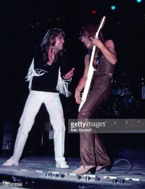 View of British Heavy Metal singer Ozzy Osbourne and American musician Randy Rhoads , on guitar, as they perform, during the 'Blizzard of Ozz Tour,'...
